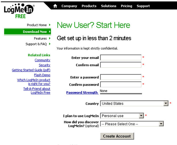 LogMeIn Signup page