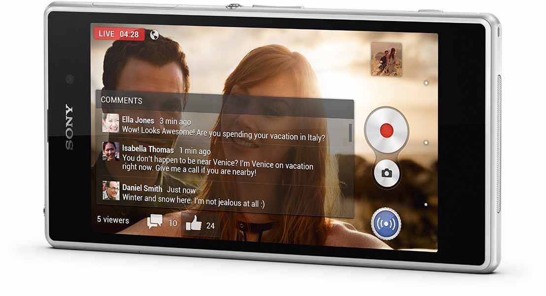 Xperia Z1 comes with Social live – broadcast live on Facebook from the best camera phone.