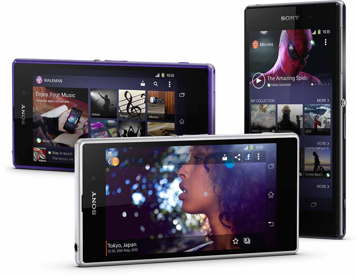 You'll find Sony's media apps – the WALKMAN, Movies and Album apps - on your Xperia Z1 homescreen.
