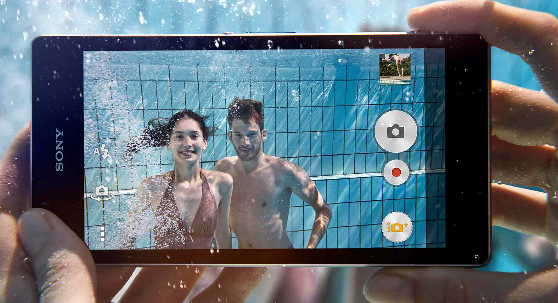 Snap pictures underwater with the waterproof Xperia Z1 Android smartphone.