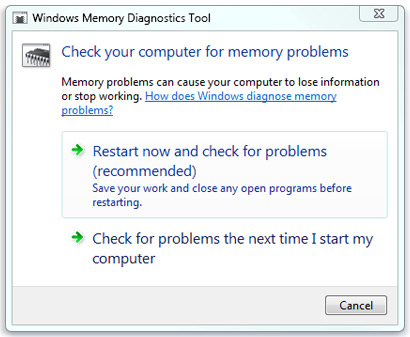 Picture of the Memory Diagnostics Tool dialog box