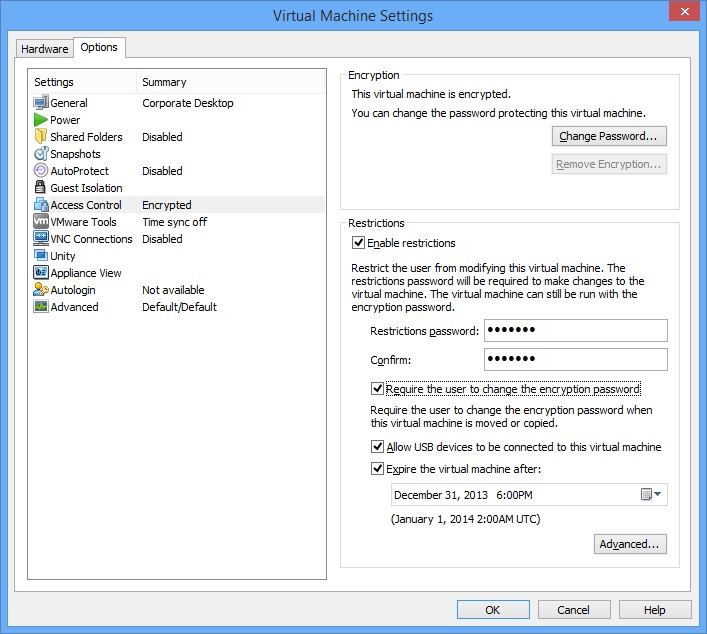 Restricted Virtual Machines run on Workstation 10
