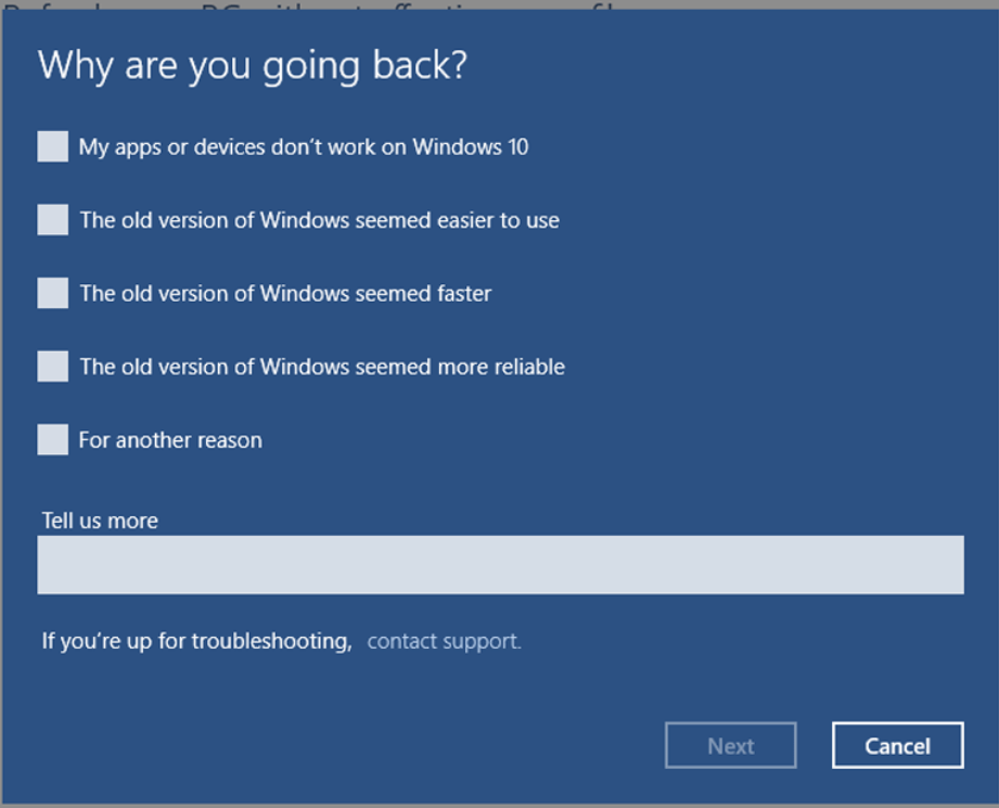 Rolling back Windows 10 to Windows 8