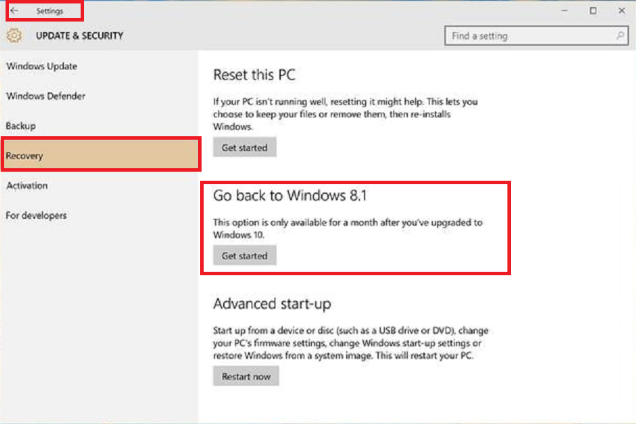 Step to revert back to Windows 8 from Windows 10